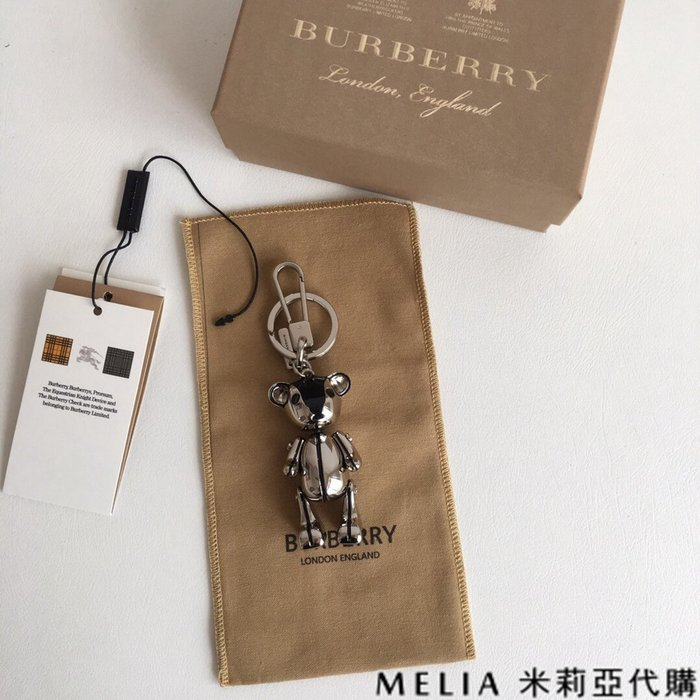 Melia 米莉亞代購 商城特價 數量有限 巴寶麗 飾品 吊飾 泰迪熊 包包掛件 鑰匙圈 銀色