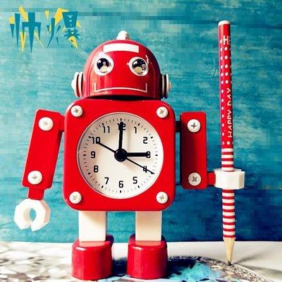 鬧鐘機器人鬧鐘創意學生鬧鐘可愛兒童卡通靜音金屬鬧鐘  拍賣最低價