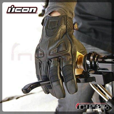 伊摩多※美國 ICON 1000 AXYS GLOVES  BLACK 牛皮 真皮 復古 短版皮手套 黑色