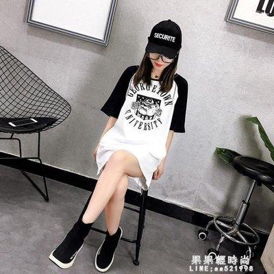 夏裝女春韓版原宿風中長款狗狗印花寬鬆短袖T恤學生打底衫上衣潮