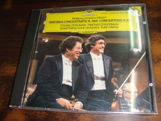 好音悅 全銀圈 Perlman 帕爾曼 Zukerman 祖克曼 Mozart 莫札特 交響協奏曲 雙小提琴協奏曲 DG