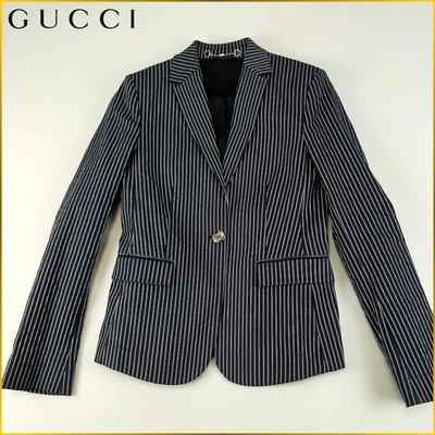 日本二手衣✈️義大利製 GUCCI 彈性 條紋 西裝外套 商務 休閒外套 義大利精品 日本女裝 *40* AFF26G