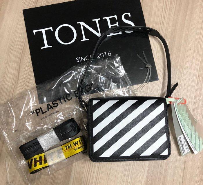 【TONES.】OFF WHITE 斜紋 工業皮帶 皮革背包 最新款上架 國外街拍必備