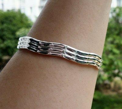 嗨,寶貝銀飾珠寶* 925純銀☆999純銀 時尚 波浪型 雙凹內刻福字 實心 開口純銀手環 手鐲