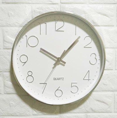 尼克卡樂斯~北歐風經典圓形掛鐘-銀色數字指針 靜音時鐘 歐洲鄉村時鐘 客廳時鐘 臥室時鐘 咖啡廳餐廳掛鐘