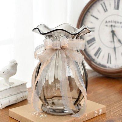 花瓶 歐式波浪口創意玻璃花瓶透明彩色 客廳百合插花瓶裝飾工藝品擺件 MKS