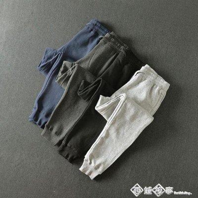 四面彈加絨 男裝保暖鬆緊繩長褲 針織衛褲拉錬口袋休閒褲 潮