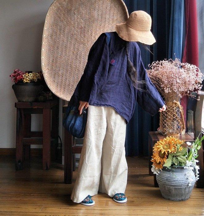 【子芸芳】原創小眾手工繡亞麻料盤扣短袍襯衫