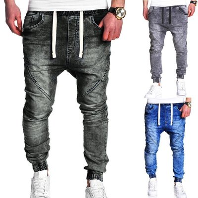 『潮范』 WS12 新款經典水洗鬆緊休閒長褲 牛仔長褲 男式休閒寬鬆哈倫褲 牛仔褲NRG3014