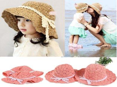 親子帽 可捲可折疊遮陽帽 草帽 蝴蝶結海灘帽 防曬必備 寶衣舖【GM022】