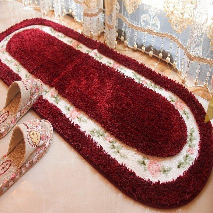 粉紅玫瑰精品屋~田園玫瑰橢圓形吸水防滑超柔順地墊~