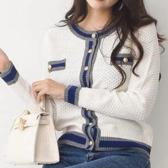 2020韓國春裝 復古氣質單排扣拼色薄針織外套(預購)