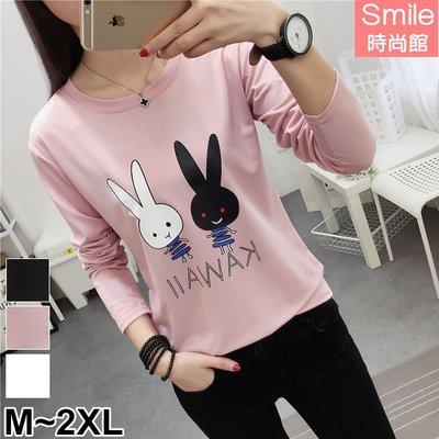 【V2682】SMILE-俏麗可愛.兔子字母印花圓領長袖上衣