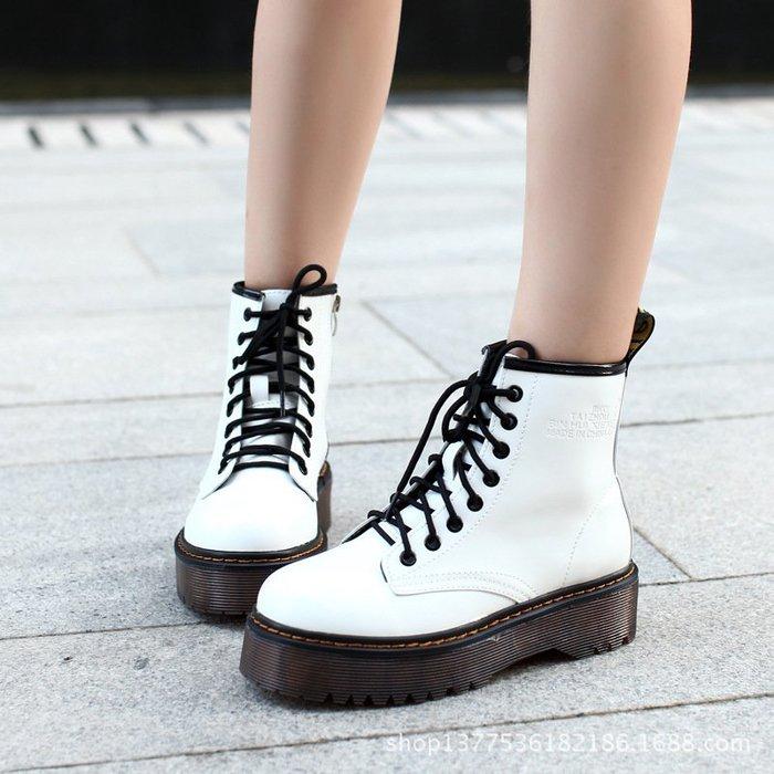 【星推薦】單靴高端高檔漆皮秋季厚底靴松糕女靴馬丁靴女新款朋克短靴子斌輝女鞋中性
