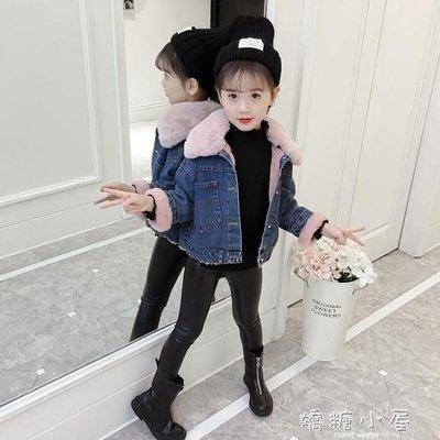 女童加絨外套秋冬裝新款韓版潮兒童洋氣加厚牛仔棉衣女孩童裝