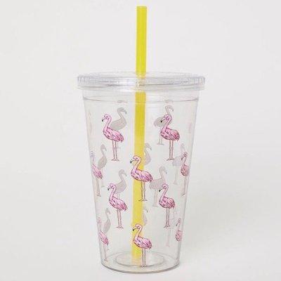 正品 H&M plastic mug with straw[紅鶴 flamingo]