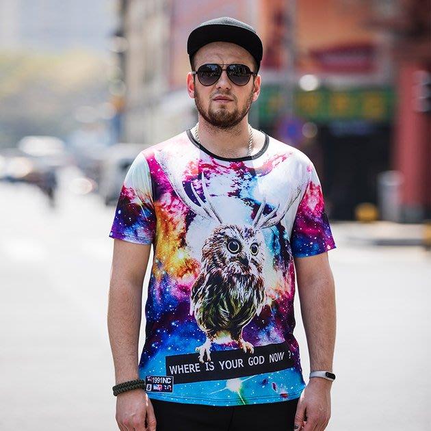 FINDSENSE品牌監製 大尺碼男裝 3D數碼動物印花寬鬆男式T恤薄款個性印花短袖夏季男大尺碼寬鬆透氣T恤速乾排汗T