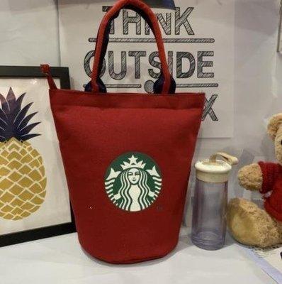 新款內帶水杯為位帆布手提圓桶款飯盒包 便當包 媽咪包 星巴克帆布包 手提袋 環保購物袋Q4W*【韓馨優品】