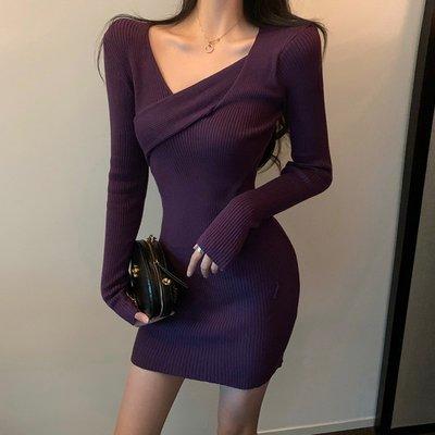 尹茵小姐·性感緊身包臀內搭毛衣裙子洋裝2021年春秋季新款長袖打底針織連身裙女