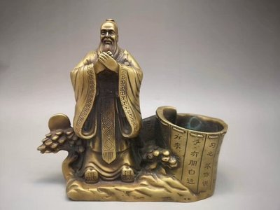 K黃銅孔子筆筒 銅器擺件 器型厚重 古意盎然