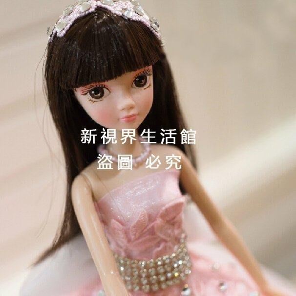 【新視界生活館】婚慶水鑽大裙擺中國婚紗娃娃可愛粉色芭比新娘節日結婚女孩禮3929{XSJ318021480}