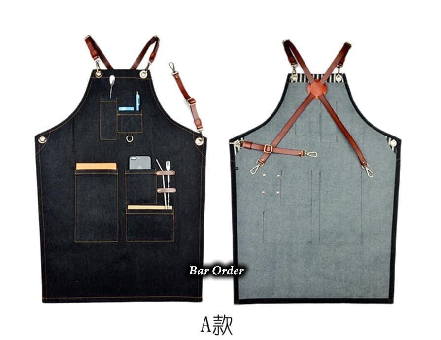Bar Order~歐美風格 牛仔布拼接牛皮材質 交叉揹帶 男女都可穿 圍裙/工作背心 四款 S-L可挑 超低價預購登記