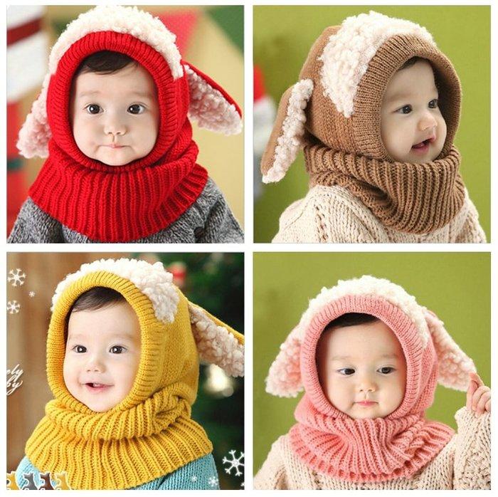 【小阿霏】兒童寶寶圍脖護耳帽 立體小綿羊披肩毛線帽子 冬天保暖圍巾毛帽 女童男童毛帽AC92