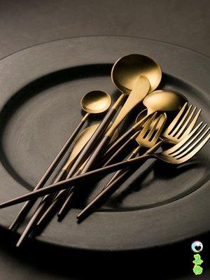 (2件免運)創意不銹鋼刀叉勺西餐餐具家用咖啡勺小湯勺牛排刀叉勺長柄勺 集物生活