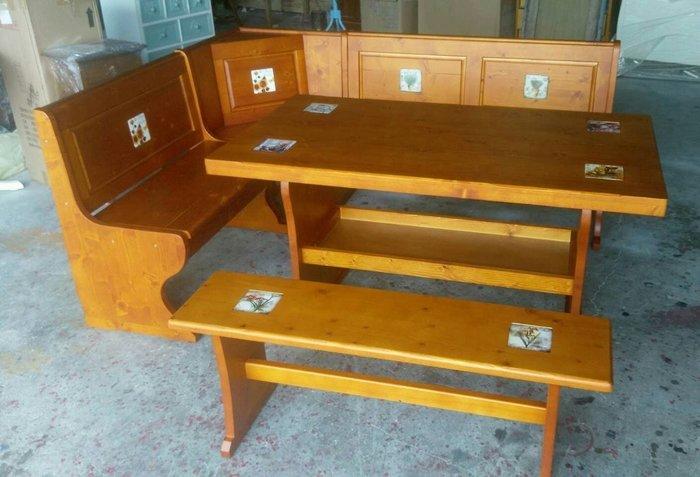 美生活館--實木西班牙磁磚系列--凱撒 L 型餐桌椅組/泡茶桌椅組--也可訂白色或雙色