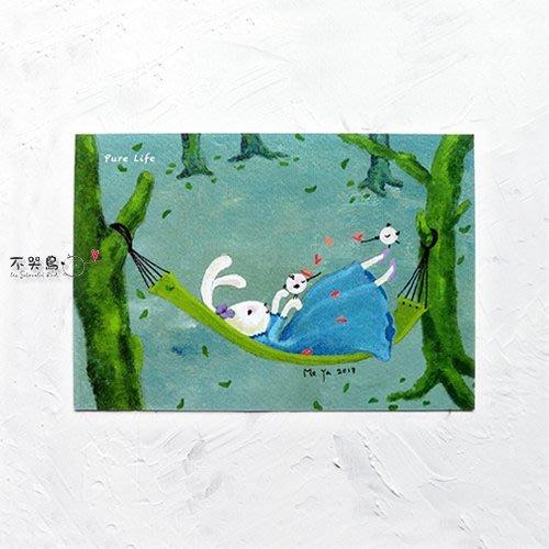 卡片 明信片*蕾絲兔-Pure Life*不哭鳥