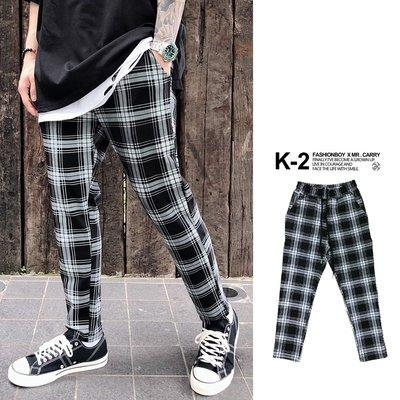 【K-2】韓國 TRAPBAE 彈性 格紋 九分褲 格子褲 微寬褲 鬆緊抽繩 休閒長褲 男女不拘 彈力褲