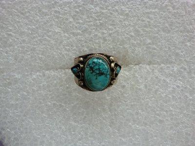 西藏老戒:鑲藍色綠松石8
