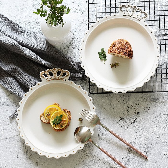 北歐卡通金邊皇冠盤子早餐盤菜盤深盤西餐盤