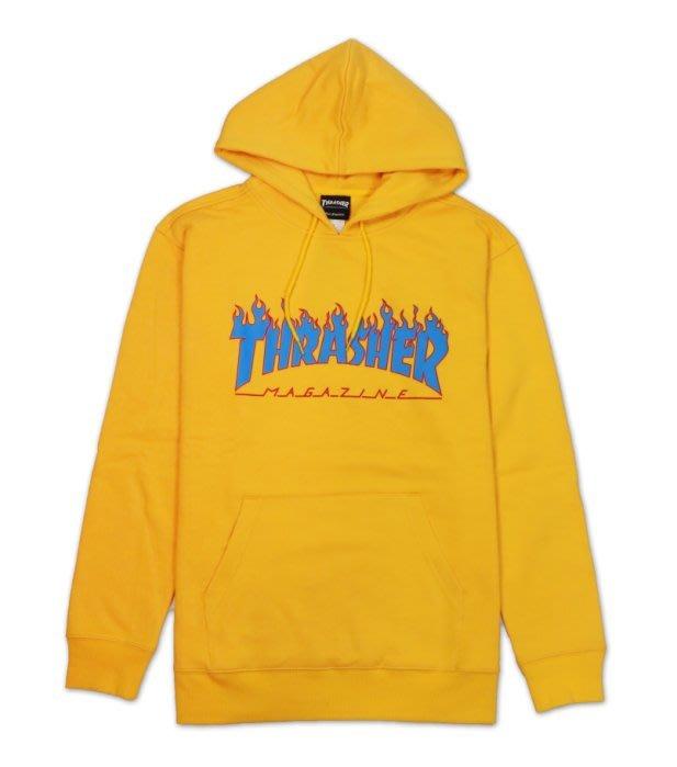沃皮斯§THRASHER FLAME HOODED 白色 藍火焰 帽T TSM1830300606