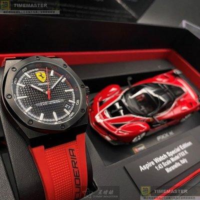 FERRARI法拉利男女通用錶,編號FE00002,42mm黑圓形, 六角形精鋼錶殼,黑色方格紋錶面,紅矽膠錶帶款