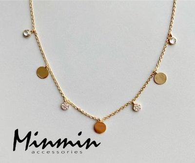 【Minmin飾品】正韓。七日思憶 銅鍍24K金 項鍊