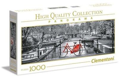 歐洲拼圖 CLE.風景 黑白 阿姆斯特丹 河 紅色腳踏車.1000片拼圖,39440