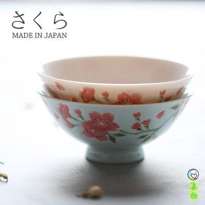 日本進口 釉下彩櫻花小碗米飯碗小碗 藍粉 12CM