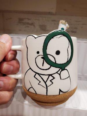 現貨星巴克熊放大鏡馬克杯附攪拌棒