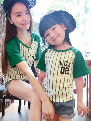 【小阿霏】親子裝家庭裝短T-shirt 純棉綠色條紋棒球衣短T恤 全家裝母女裝父子裝情侶裝短袖上衣 成人款FA17