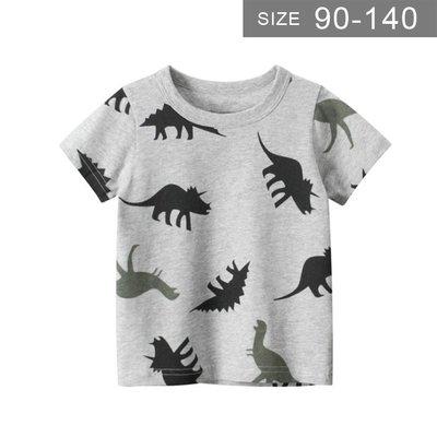 男童短袖T恤。ROUROU童裝。夏男童中小童100%棉恐龍印花圓領短袖T恤 0121-539