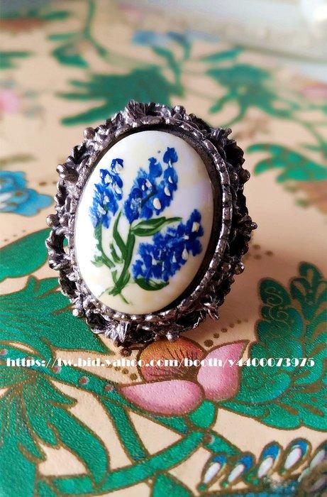 黑爾典藏西洋古董~美國手繪搪瓷優雅花卉古典雕花邊可調式戒指~Vintage復古洋裝老件擺飾