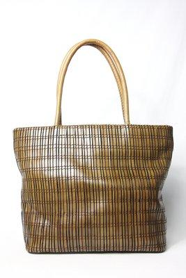 【古物箱~霹靂膠囊】日本品牌 Borsetta Domam手工製 仿竹編 編織 油蠟牛皮 手提包 (二手 古著 老件)