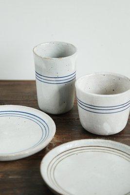 發現花園生活館-日本製 studio M toupie  線條 茶杯 ~ 藍線圈
