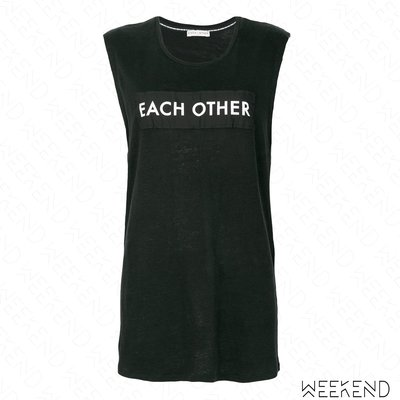 【WEEKEND】 EACH X OTHER Logo 文字 貼片 無袖 T恤 上衣 黑色 18春夏新款