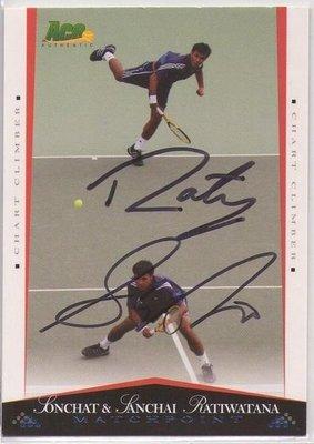 網球 2012 ACE Grand Slam  雙打好手 RatiWatana 雙人直筆 簽名卡 ~~