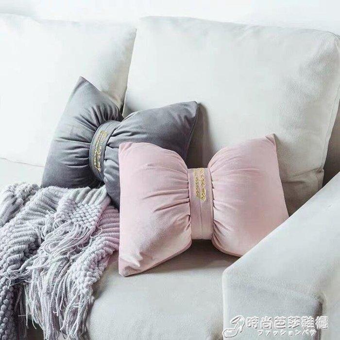 抱枕 北歐純色天鵝絨抱枕簡約刺繡床頭靠枕絲絨沙發靠背INS靠墊蝴蝶結