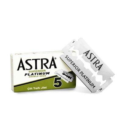 俄羅斯 Astra 極致白金 刮鬍刀刀片(5片裝 / 通用傳統手動雙刃安全刮鬍刀)