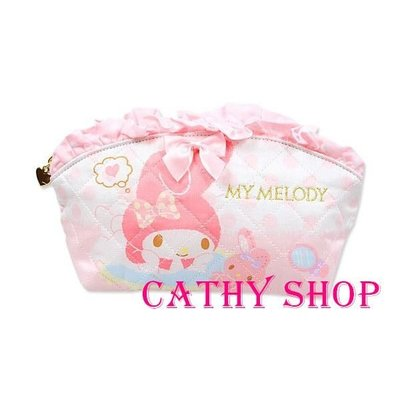 *凱西小舖*日本進口三麗歐正版MELODY美樂蒂粉紅夢幻系列車紋菱格收納/隨身化妝包(M)