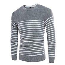 外貿新品秋季新款男士套頭毛衣條紋毛衣時尚修身針織衫男裝黑